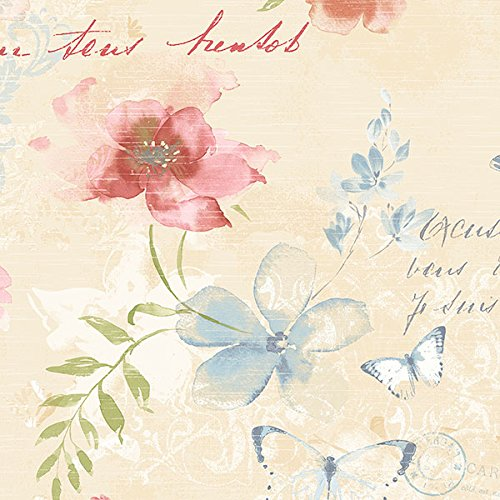 Manhattan comfort NWAB42432 Norwich Series Vinyl Butterfly and Floral Design Large Wallpaper Roll, 20.5
