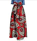SportsX Women's African Vogue Waist Bow Big Pendulum Dashiki Club Long Skirt 1 XL