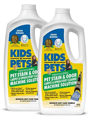 KIDS N PETS - Pet Stain & Odor - Carpet & Upholstery Cleaner Machine Solution - Pack of 2-27.05 oz - Professional Strength Formula Deeply Cleans Carpet & Upholstery - Non-Toxic & Child Safe
