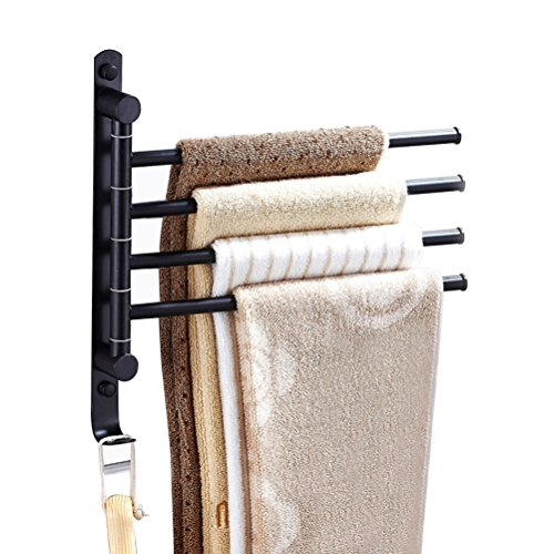 Moyad Towel Bar for Bathroom Stainless Steel Swivel Towel Rack Wall Mounted Towel holder with Hook (4 Bar, Oil Rubbed Bronze ) (Rubbed Bronze Outdoor Hanger)