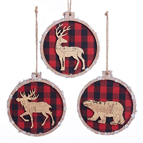 Kurt Adler Red Buffalo Plaid with Bear Deer and Moose Christmas Holiday Ornaments Set of 3