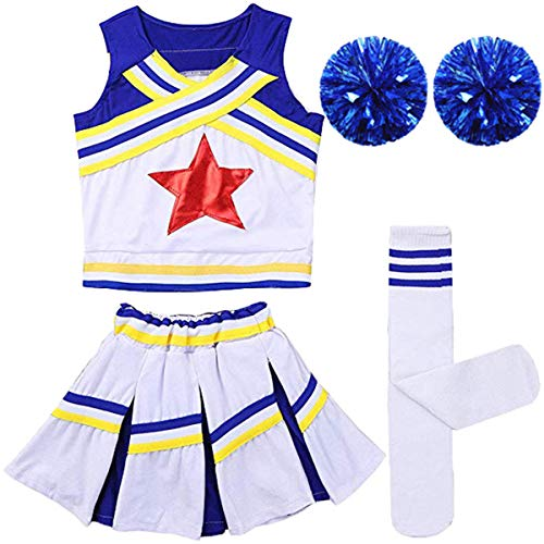 Girls Kids Cheerleader Uniform Costume Soccer Carnival Party Outfit Crop Top with Skirt Knee Socks Match Pom poms Set Blue -