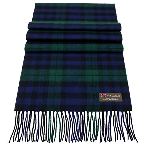 Rosemarie Collections 100% Cashmere Winter Scarf Made In Scotland (Black Watch Tartan)