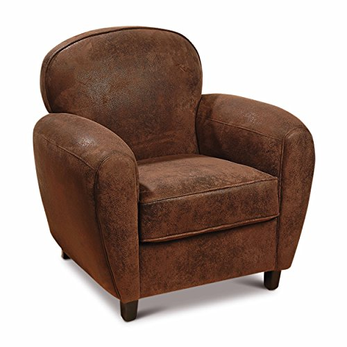 Whole House Worlds The Parisian 1920 s Club Chair, Faux Leather, Shabby Vintage, Distressed Worn Patches, Rolled Arms, Piping Details, Wood Frame, 32 3/4 L x 30 1/4 W x (Art Deco Club Chair)