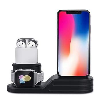 Aifusi - Soporte de Carga 3 en 1 para Reloj Inteligente, teléfono Inteligente y Auriculares, Soporte Negro de Silicona, Cargador de Mesa: Amazon.es: ...