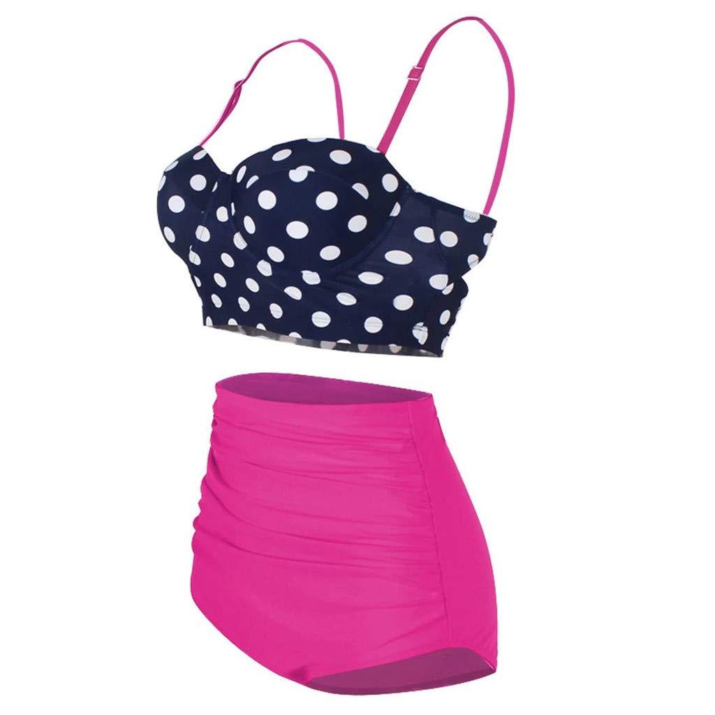 Swimwear Plus Size Women High Waist Retro Dot Print Swimsuit Beachwear Bikini Set