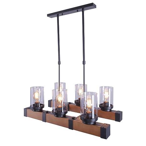 Lingkai Lámpara colgante de madera colgante de iluminación ...