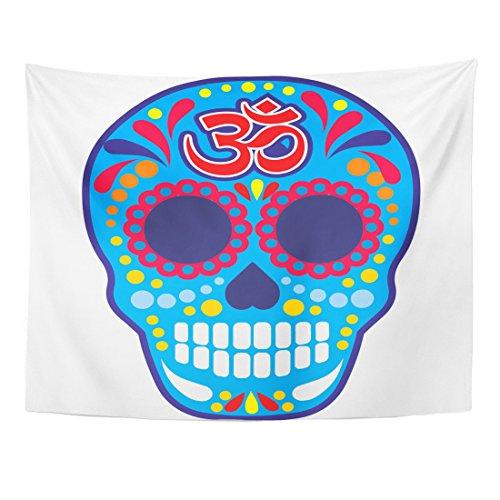 Emvency Tapestry Aum Sugar Skull Om Vintage Bone Buddha Death Halloween Home Decor Wall Hanging for Living Room Bedroom Dorm 60x80 Inches -