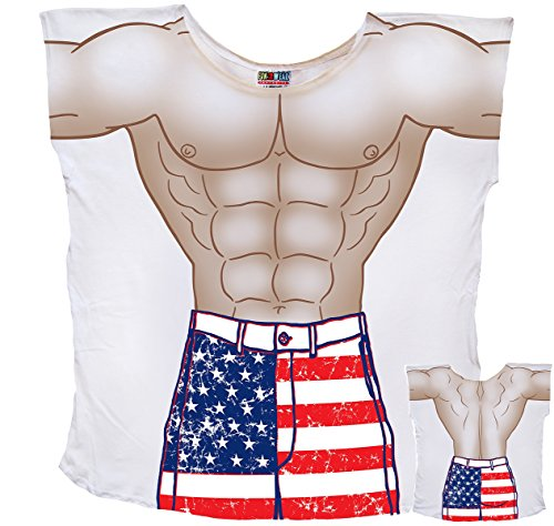 Stars & Stripes Guy Board Shorts Cover-Up T-Shirt Size M/L