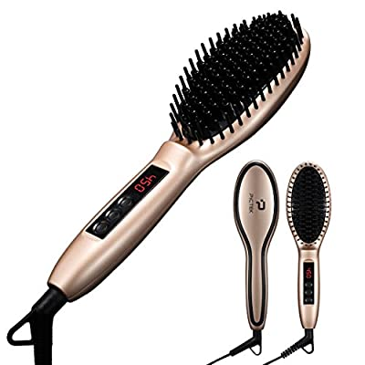 Pictek Hair Straightener Brush, Electric Hair Straightening Brush (Fast Heat Up) (Auto-Lock) Portable Detangling Hair Brush Dryer for Curly Wavy Hair