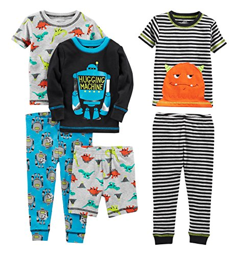 Simple Joys by Carter's Baby Boys' Toddler 6-Piece Snug Fit Cotton Pajama Set, Monster/Dino, 4T (Boys 4t Clothes)