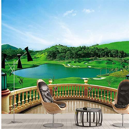 Pbldb Photo Wallpaper 3D Stereo Balcony Golf Course Mural Living Room Bedroom Tv Backdrop Wall Painting Green Eye Home Decor Wallpaper-150X120Cm