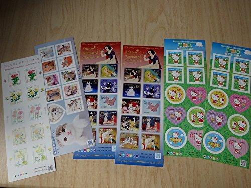 6シート 日本 シール 切手 未使用 セット まとめて キャラクター ディズニー 白雪姫 ハローキティ東海限定 猫 花 レア 希少 B078S37X6W