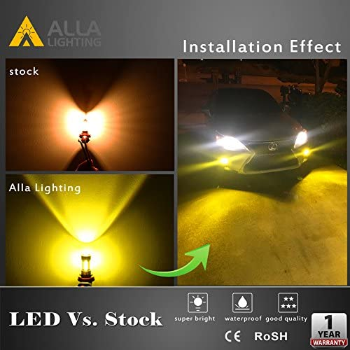 Alla Lighting 5201 5202 LED Fog Light Bulbs High Power 3030 SMD 12V LED 5202 Bulbs Super Bright Gold Yellow PS24W 12085 8502 LED Bulbs for Fog Light or DRL Lamps Replacement