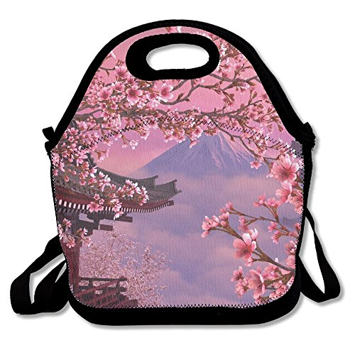 Cherry Almonds Pie (Cherry Blossoms Mount Fuji Insulated Lunch Bag Picnic Lunch Tote For Work, Picnic, Travelling)