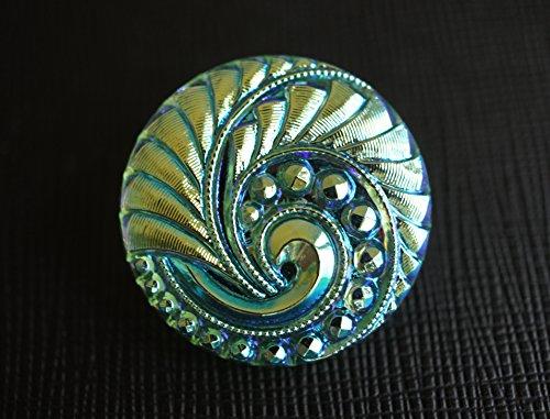 - Hand Made Art Czech Glass Button Lt. Chrysolite AB, size 12'', 28mm, 1pc