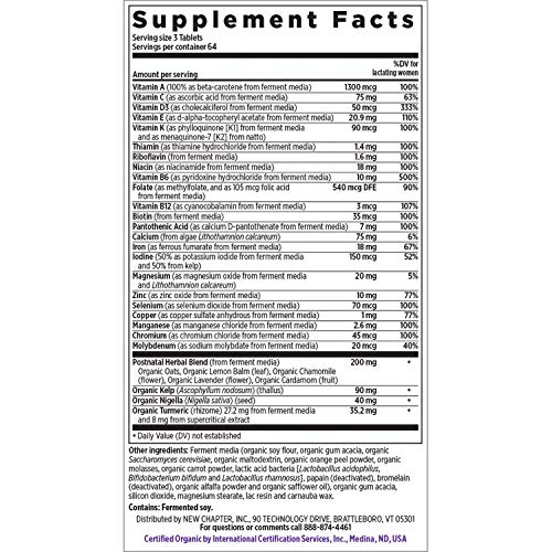 New Chapter Perfect Postnatal Vitamins, Lactation Supplement with Fermented Probiotics + Wholefoods + Vitamin D3 + B Vitamins + Organic Non-GMO Ingredients - 192 ct (Packaging May Vary) by New Chapter (Image #1)