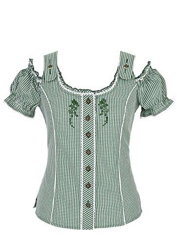 Spieth & Wensky - Karierte Damen Trachten Bluse in verschiedenen Farben, Akelei (240430-0728), Größe:48;Farbe:Grün/Weiß (2544)