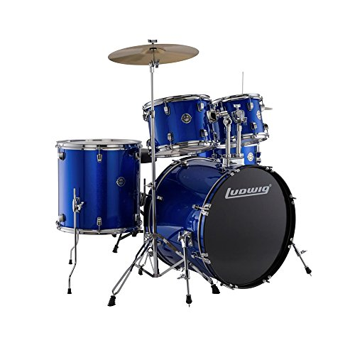 Ludwig Accent Drive Blue 5-Piece Drum Set (Includes Hardware, Throne, Pedal, Cymbals, Sticks and Drum Key) ()