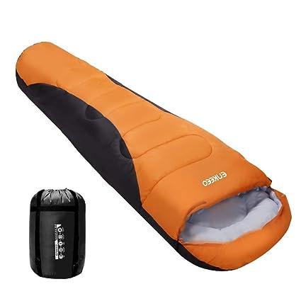 ENKEEO Saco de Dormir Momia Impermeable Cáscara de Tafetán (Forro Interior, Algodón Respirable,