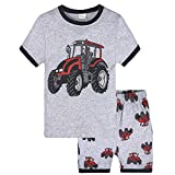 Hatoys 2PCS Toddler Kids Baby Boys Girls Pajamas Cartoon Print Tops + Shorts Outfits Set (5T(Height:125-130CM), Gray)