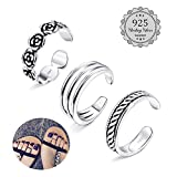 LOYALLOOK Toe Rings for Women Girls Sterling Silver Toe Rings Stackable Rings Adjustable Open Toe Ring Gifts Jewelry Set 3Pcs