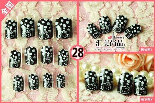 Hello Kitty Press on Nail --Black 24 Pcs