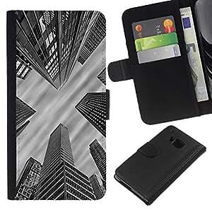 All Phone Most Case / Oferta Especial Cáscara Funda de cuero Monedero Cubierta de proteccion Caso / Wallet Case for HTC One M7 // City Architecture Nyc Boston White