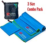 GERUS Microfiber Fast Drying Towels – Travel Beach Yoga Gym Camping Backpacking Sports Sweat Swimming Car Towel Set - Quick Dry Ultra Light and Absorbent – Pack of 3 Sizes – with Carry Pouch