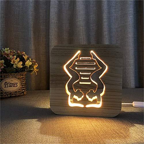 Lámpara de Yoga Gimnasio Madera 3D Lámpara de ilusión Que ...