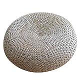 Futon Cushion Circular Yoga mat Straw Group Bay Window Cushion Buddha Pad Carpet Tea Ceremony mat Furniture Accessories (Color : Wood Color, Size : Diameter50Height18cm)