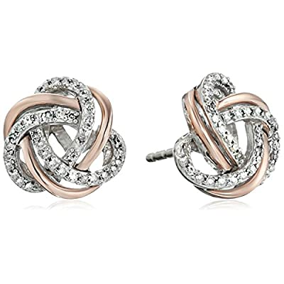 Hot Two-Tone Sterling Silver Diamond Love Knot Stud Earrings (1/5 cttw, J-K Color, I2-I3 Clarity) hot sale