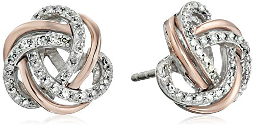 Two Tone Sterling Diamond Earrings Clarity product image