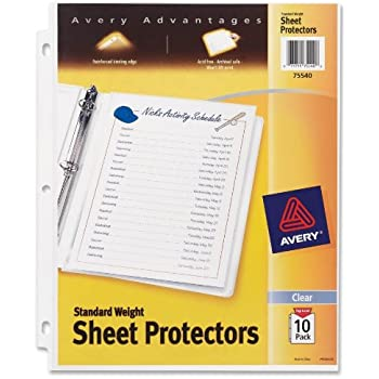amazon com avery standard weight sheet protectors pack of 10