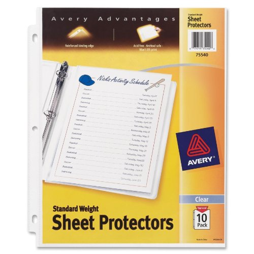Avery Standard Weight Sheet Protectors, Pack of 10 Sheet Protectors (Clear Standard Sheet Protectors)
