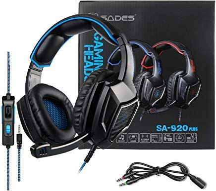 - Stereo Gaming Headset PS4 Xbox One S, SADES SA920PLUS Noise Cancelling Over Ear Headphones with Mic, Bass, Soft Memory Earmuffs for PC Laptop Mac Nintendo Switch Games Mobile(Black Blue)