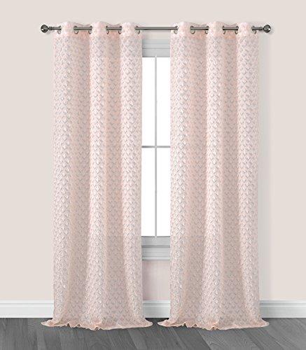 Fringe Panel (Dainty Home Arianna Grommet Window Panel with Fringes, 76x96'', Blush)