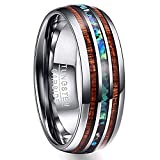 Vakki 8mm Mens Tungsten Wedding Band Koa Wood and Abalone Shell Inlay Comfort Fit Engagement Ring Size 11