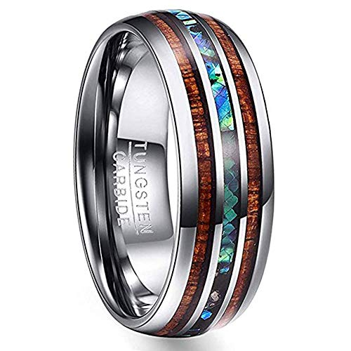 (VAKKI 8mm Men's Hawaiian Koa Wood & Abalone Shell Tungsten Band Ring Polished Domed Wedding Rings Size 9)