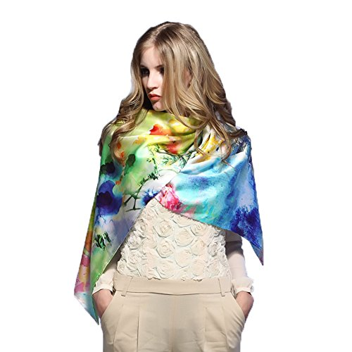 Women's Mulberry Silk Scarf Extended Long Scarf Real Silk Summer Shawl by MINGXIN006