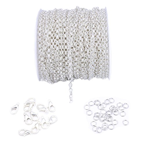 3mm 10Meters Silver Plated Iron cable chain Open Link Chain DIY Jewelry Making Chain with Lobster Clasp Open Jump Ring