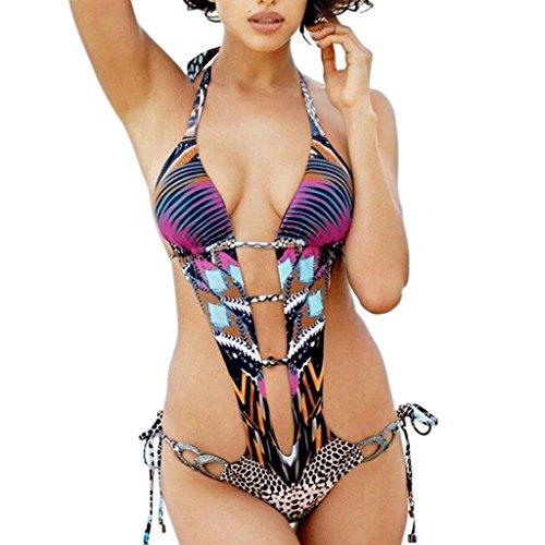 Traje de baño Siamese Señora Leopard Hollow Swimsuit Bikini Multi - color