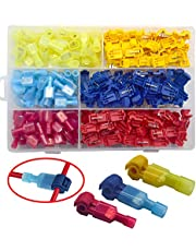Yosawa 200-Pieces T-Tap Connectors Terminals Wire Splice Connectors,Quick Splice Electrical Connectors Self-Stripping and Nylon Fully Insulated Male Spade Disconnects Kit