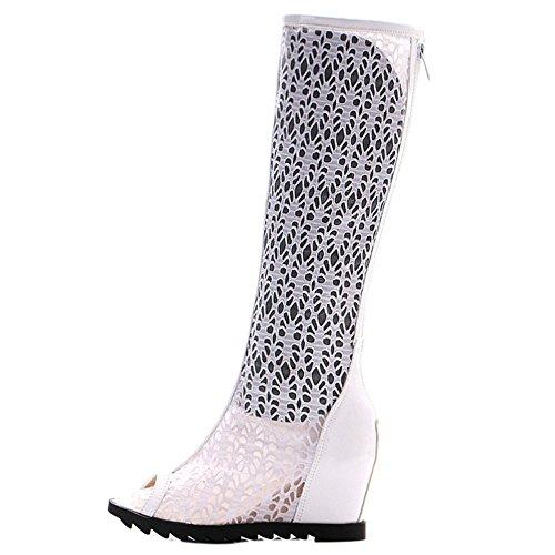 COOLCEPT Damen Mode Slip On Sandalen Peep Toe Aufzug Schuhe Mit Zipper White