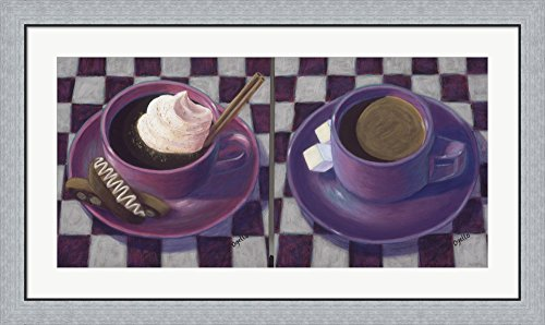 Caffeine Cups 2 by Debra Ozello Framed Art Print Wall Picture, Flat Silver Frame, 41 x 24 inches