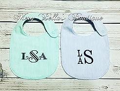Monogrammed Baby bib, Personalized Seers...