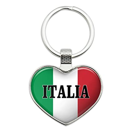 Italia Italy Italian Flag Heart Love Metal Keychain Key Chain Ring