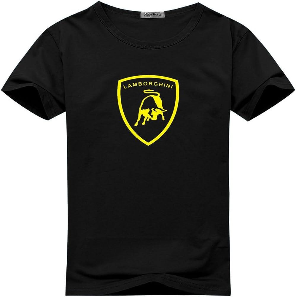XXL T-SHIRT Automobili Lamborghini Sportscar Yellow Shield Print on Black NEW