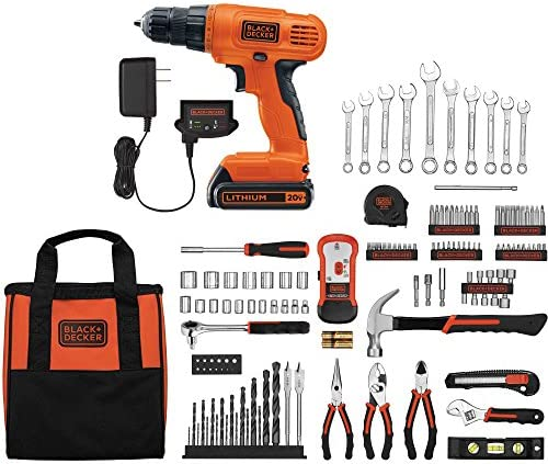 Black and Decker 20V Lithium Drill Driver with 128-Piece Project Kit