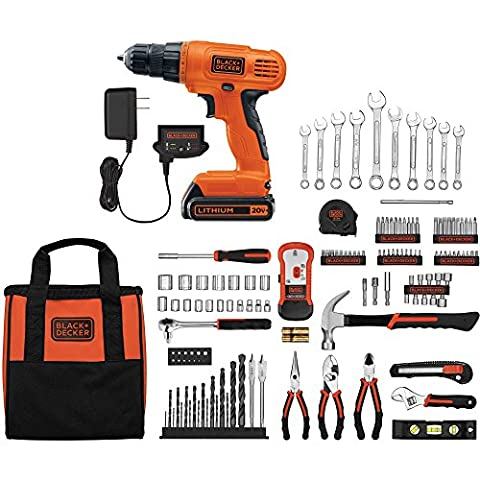 Black and Decker 20 Volts Lithium Ion Drilling Driver Home Project Power Tools Kit (128-Piece in a (Kobalt Hole Saw Set)